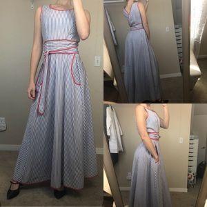 Stripped wrap around maxi dress